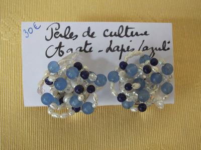 Perles de culture, Agate, Lapis-lazuli | 30 €